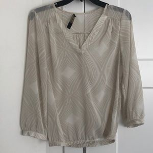 The Limited sheer vneck geometric blouse